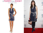 Zooey Deschanel's Zooey Deschanel for Tommy Hilfiger Sleeveless Contrast-Trim Belted Dress