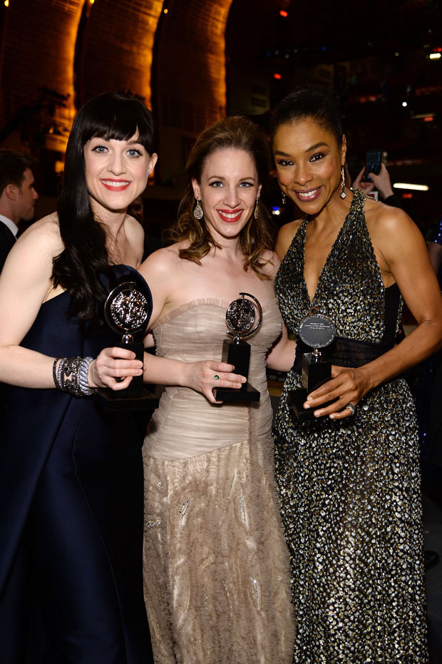 Lena Hall in Zac Posen, Jessie Mueller in Randi Rahm and Sophie Okonedo in Sophie Theallet