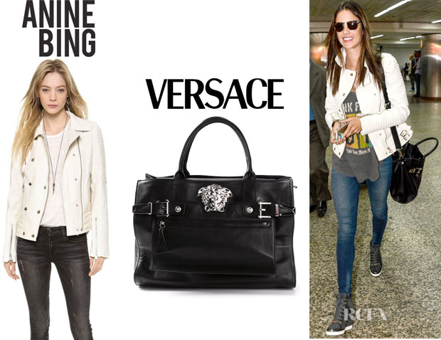 Alessandra Ambrosio's Anine Bing 'Moto' Leather Jacket And Versace 'Palazzo' Tote