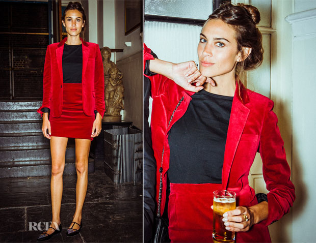 Alexa Chung In Saint Laurent - MyTheresacom and Anya Hindmarch Dinner