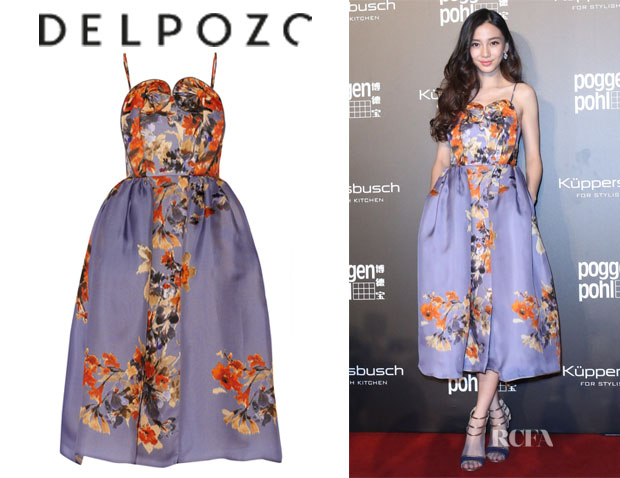Angelababy's Delpozo Floral-Print Silk-Gazar Dress