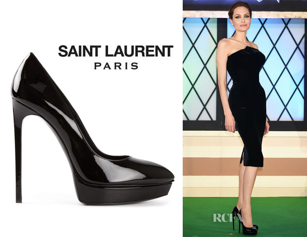 dd6d0f8d96e Angelina Jolie s Saint Laurent  Classic Janis  Platform Pumps - Red ...