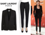 Angelina Jolie's Saint Laurent 'Virgin' Wool Blazer And Saint Laurent Slim-Leg Silk Trousers