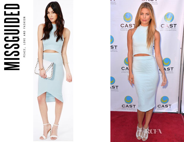 AnnaLynne McCord's MissGuided Lacey High Neck Ribbed Crop Top And MissGuided 'Elanor' Ribbed Curve Hem Midi Skirt