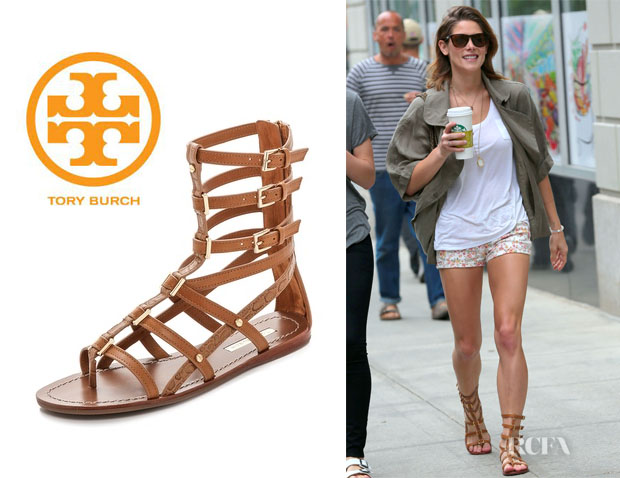 Ashley Greene's Tory Burch 'Reggie' Flat Gladiator Sandals