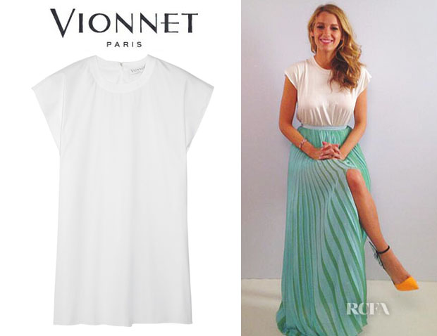 Blake Lively's Vionnet Stretch Cotton-Blend Top