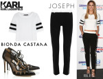 Cheryl Cole's Karl Lagerfeld 'Jessica' Mesh-Striped T-Shirt, Jospeh 'Ben' Smoking Pants And Bionda Castana 'Dekota' Pumps