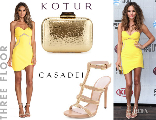 Chrissy Teigen's Three Floor 'Aspen' Dress, Kotur 'Morley' Croc-Embossed Box Clutch And Casadei Gladiator Stiletto Sandals