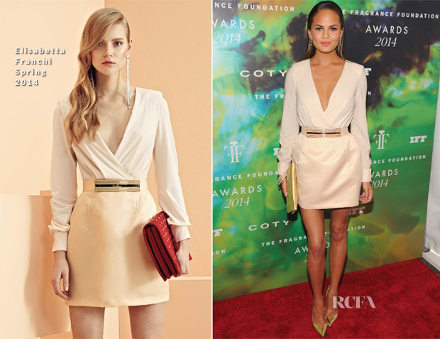 Christine Teigen In Elisabetta Franchi - 2014 Fragrance Foundation Awards