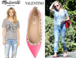 Diane Kruger's Madewell 'Paris' Banded Tee And Valentino 'Rockstud' Ballerina Flats