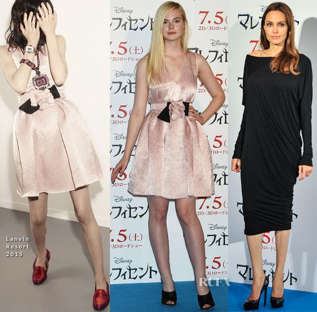 Elle Fanning In Lanvin Resort 2015  & Angelina Jolie - 'Maleficent' Tokyo Photocall