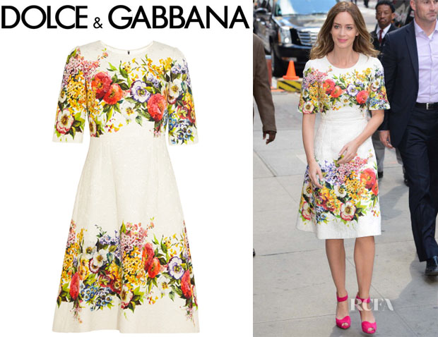 Emily Blunt S Dolce Amp Gabbana Floral Brocade Dress Red
