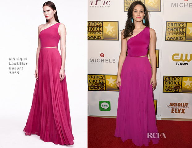 Emmy Rossum In  Monique Lhuillier - 2014 Critics' Choice Television Awards