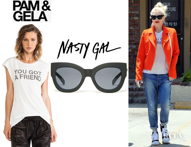 Gwen Stefani's Pam & Gela 'You Got A Friend' Twisted Seam Muscle Tee And Nasty Gal 'Quay Nala' Shades