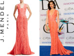 Hilary Rhoda's J. Mendel V-Neck Lace Gown
