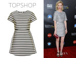 January Jones' Topshop Satin Stripe A-Line Dress