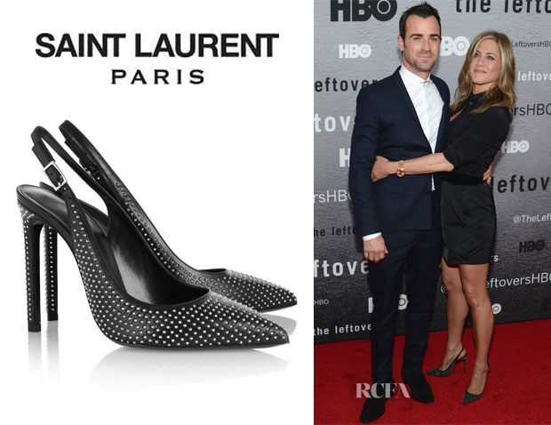Jennifer Aniston's Saint Laurent Studded Leather Slingbacks