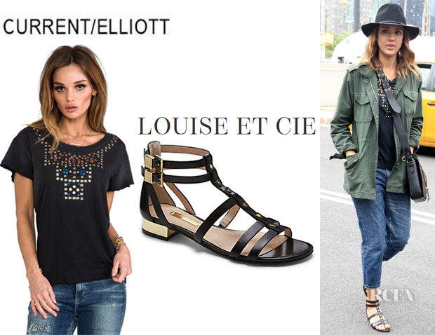 Jessica Alba's CurrentElliott The Crew Neck Tee And Louise et Cie 'Apolla' Leather Gladiator Sandals