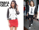 Jessica Alba's Pam & Gela Colourblock Jacket with Quilted Sleeves