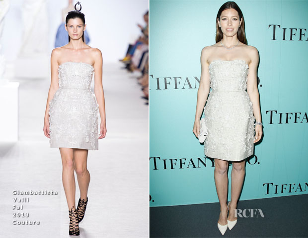 Jessica Biel In Giambattista Valli Couture - Tiffany & Co Champs Elysées Flagship Opening