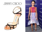 Jordana Brewster's Jimmy Choo 'Rumba' Suede Iridescent PVC Sandals