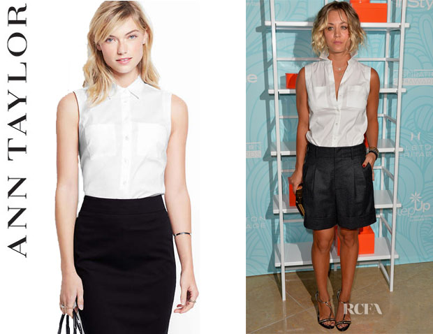 Kaley Cuoco's Ann Taylor Perfect Stretch Cotton Sleeveless Shirt