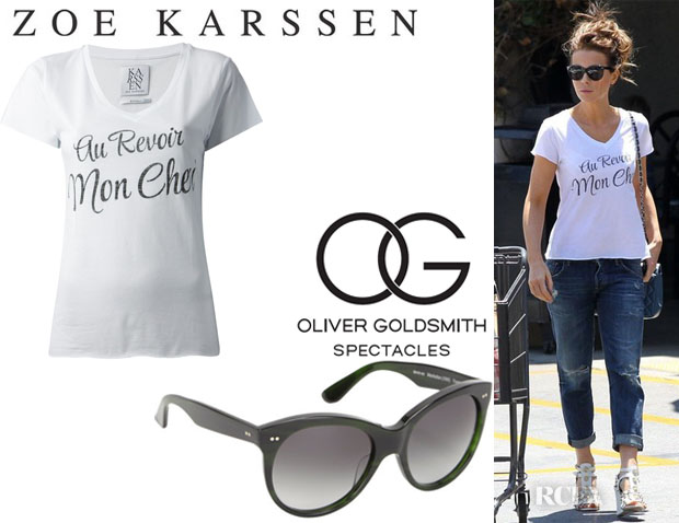 Kate Beckinsale's Zoe Karssen 'Au Revoir Mon Cheri' T-Shirt And Oliver Goldsmith 'Manhattan Wayfarer' Sunglasses