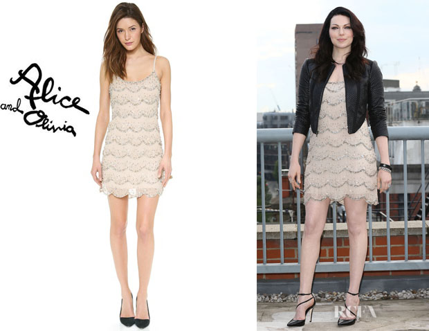 Laura Prepon's Alice + Olivia Wes Embellished Scallop Slip Dress