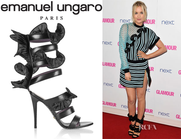 Laura Whitmore's Emanuel Ungaro Wrap-Around Ruffled Leather Sandals