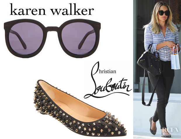 Lauren Conrad's Karen Walker 'Super Duper Strength' Sunglasses And Christian Louboutin 'Pigalle' Spikes Flats