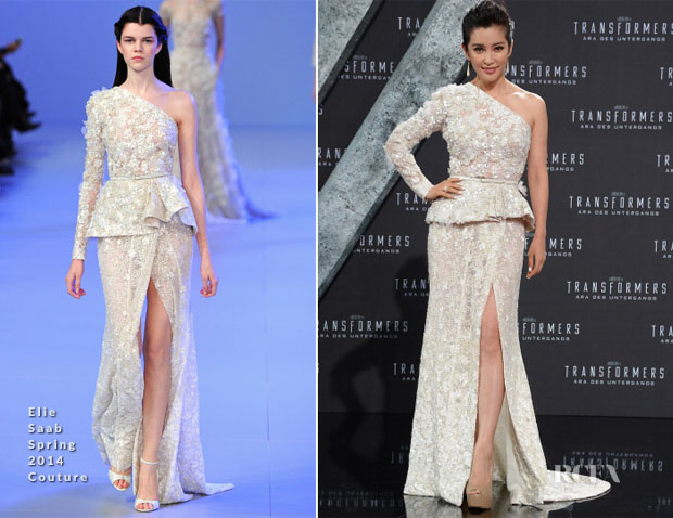 Li Bingbing In Elie Saab Couture - 'Transformers Age of Extinction' Berlin Premiere