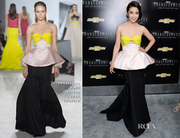 Li Bingbing In Giambattista Valli Couture - 'Transformers Age Of Extinction' New York Premiere