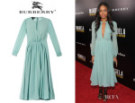 Naomie Harris' Burberry Prorsum Pleated Silk-Georgette Dress