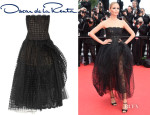 Natasha Poly's Oscar de la Renta Lace And Tulle Gown