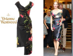 Poppy Delevingne's Vivienne Westwood Gold Label 'Mini Cocotte' Floral-Print Satin Dress