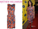 Rosario Dawson's Matthew Williamson Printed Jersey Peplum Mini Dress