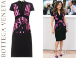 Salma Hayek's Bottega Veneta Embroidered Japanese-Crepe Dress