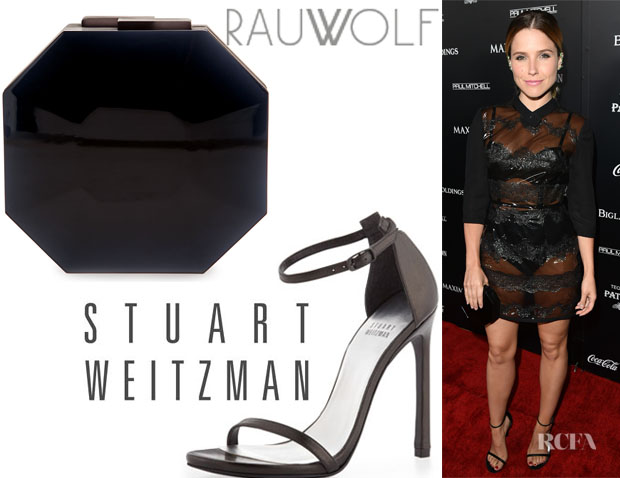 Sophia Bush's Rauwolf 'Octagon' Clutch And Stuart Weitzman 'Nudist' Ankle-Strap Sandals