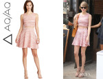 Taylor Swift's Aqua Marled Crop Top And Aqua Marled Skater Skirt