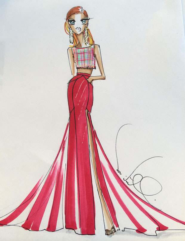 Sketch of Cassadee Pope's Theia gown