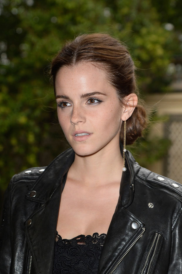 Emma Watson in  BLK DNM and Valentino