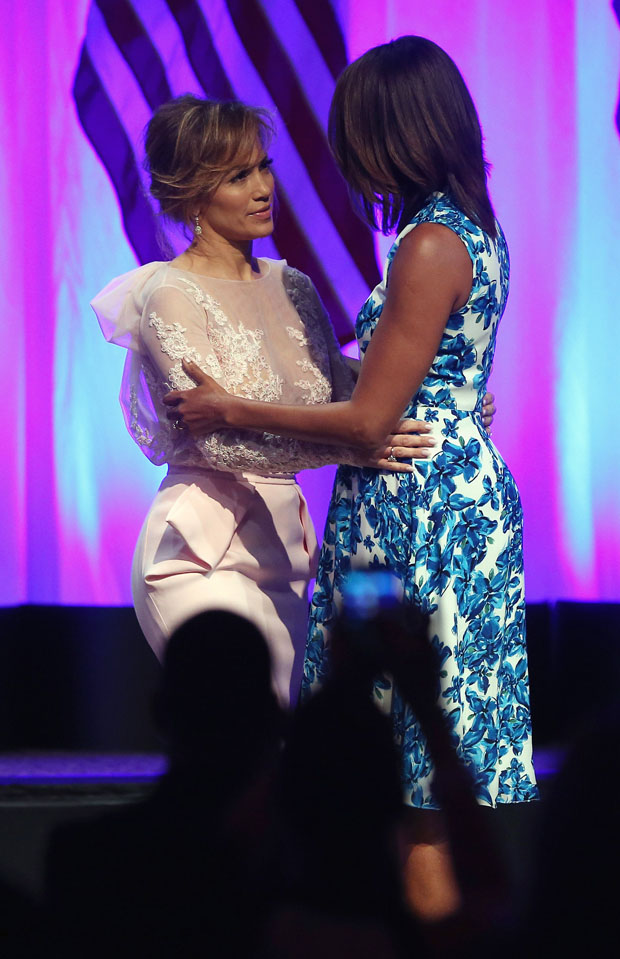 Jennifer Lopez in Zuhair Murad Couture and Michelle Obama in Tanya Taylor
