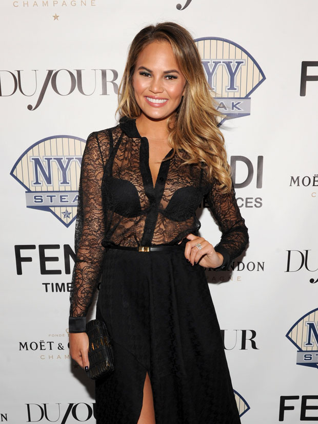 Chrissy Teigen in Saint Laurent & Stella McCartney