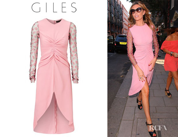 Abbey Clancy's Giles 'Pink Lip' Sleeve Sable Dress