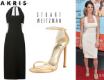 Ashley Greene's Akris Neck Loop Dress And Stuart Weitzman 'Nudist' Sandals