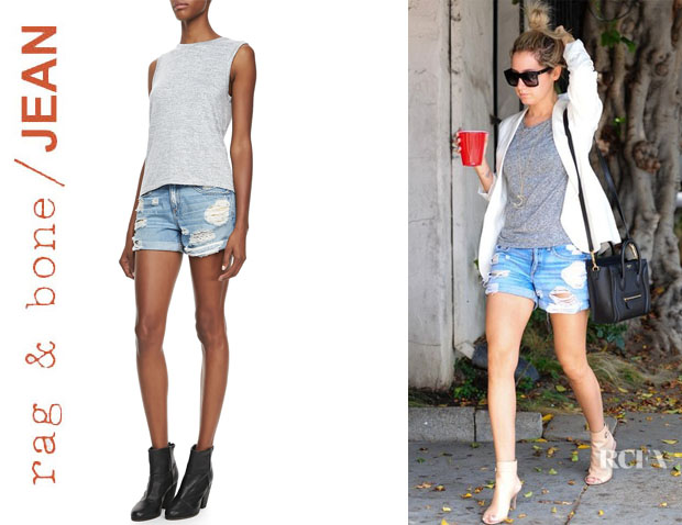 Ashley Tisdale's Rag & BoneJEAN Boyfriend Rebel Distressed Shorts