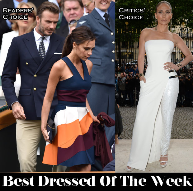 Best Dressed Of The Week - Victoria Beckham In Victoria Beckham, David Beckhmam In Ralpha Lauren & Jennifer Lopez In Atelier Versace