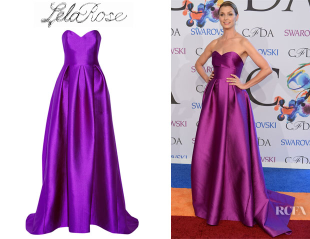 Bridget Moynahan's Lela Rose Embossed Satin Gown