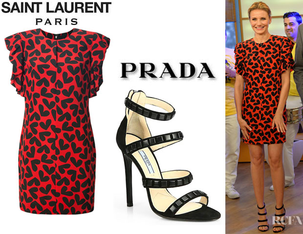 Cameron Diaz' Saint Laurent Heart Print Dress And Prada Studded Suede Sandals