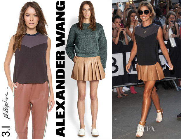 Cheryl Cole's 3.1 Phillip Lim Sleeveless Scultped Tank & Alexander Wang Pleated Leather Skirt